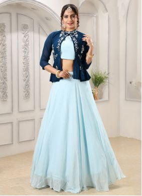 Embroidered Georgette Designer Lehenga Choli in Aqua Blue