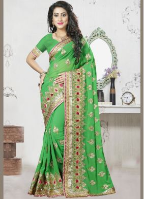 Embroidered Georgette Designer Saree in Green