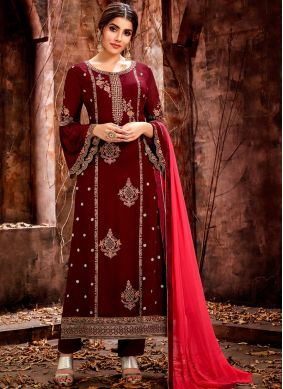 Embroidered Georgette Designer Straight Salwar Kameez in Maroon