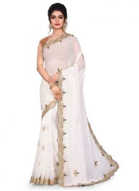 Embroidered Georgette Designer Traditional Saree in White