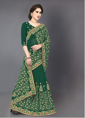 Embroidered Georgette Green Traditional Saree