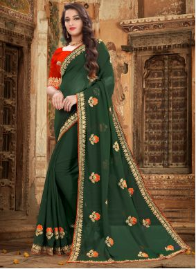 Embroidered Georgette Green Trendy Saree