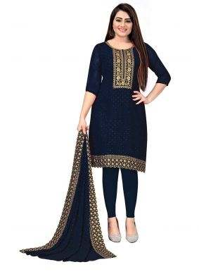 Blue Embroidered Georgette Pant Style Suit