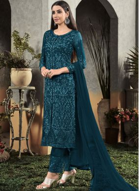 Embroidered Georgette Salwar Suit in Navy Blue