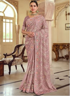 Embroidered Georgette Satin Bollywood Saree