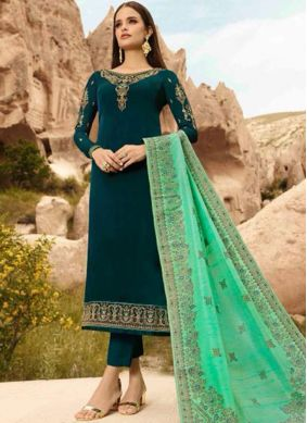 Embroidered Georgette Satin Designer Straight Suit in Green