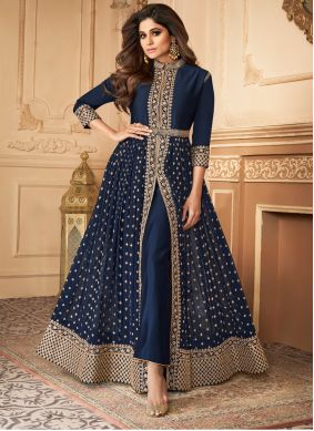 Embroidered Georgette Trendy Salwar Suit in Blue