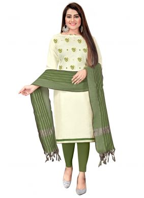Embroidered Green and Off White Churidar Suit