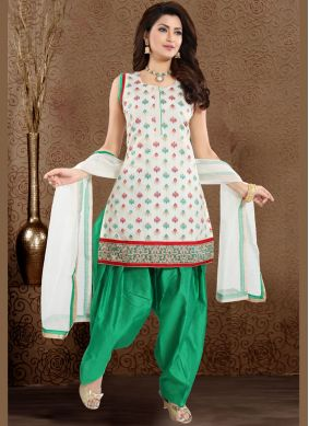 Embroidered Green and White Designer Patiala Suit