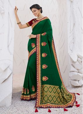 Embroidered Green Classic Saree