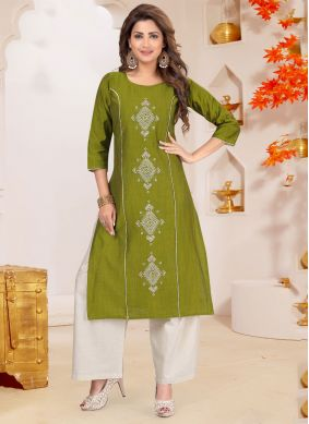 Embroidered Green Cotton Silk Palazzo Salwar Suit