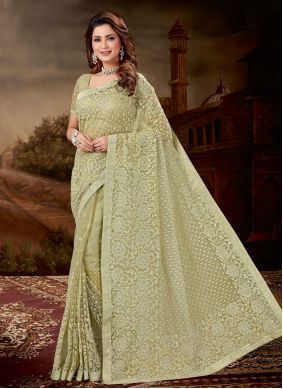 Embroidered Green Net Trendy Saree
