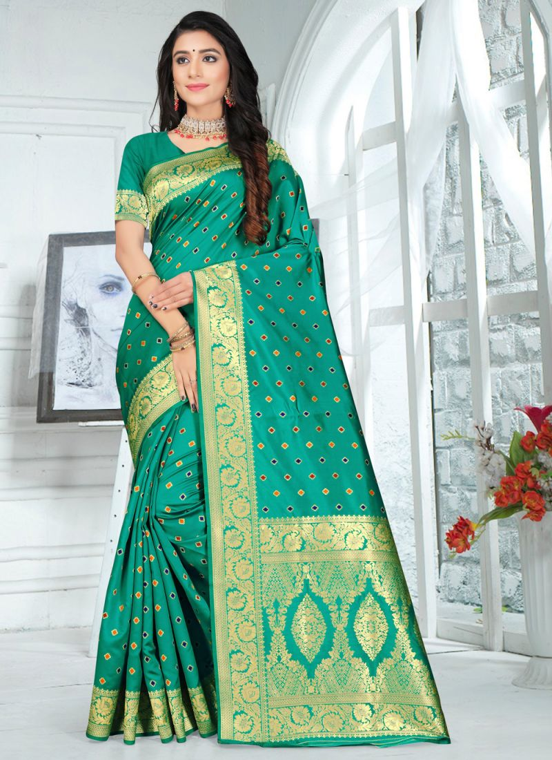 Embroidered Green Poly Silk Saree