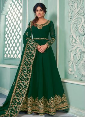 Embroidered Green Shamita Shetty Floor Length Anarkali Salwar Suit