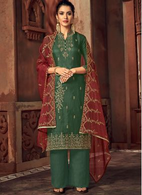Embroidered Green Silk Palazzo Salwar Kameez