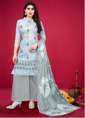 Embroidered Grey Designer Palazzo Suit