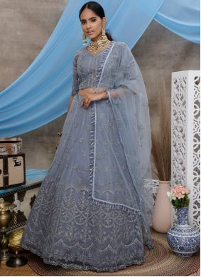 Embroidered Grey Trendy A Line Lehenga Choli