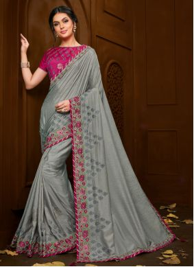 Embroidered Grey Trendy Saree