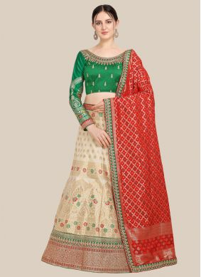 Embroidered Jacquard Beige Lehenga Choli