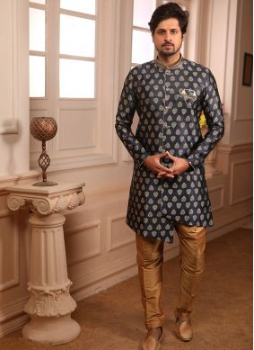 Embroidered Jacquard Indo Western in Blue