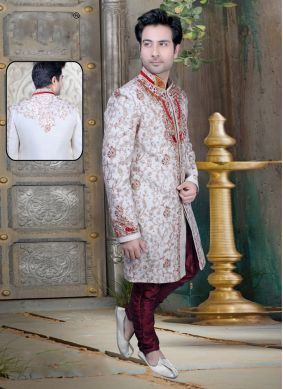 Embroidered Jacquard Sherwani in Off White
