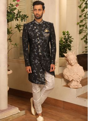 Embroidered Jacquard Silk Indo Western in Grey