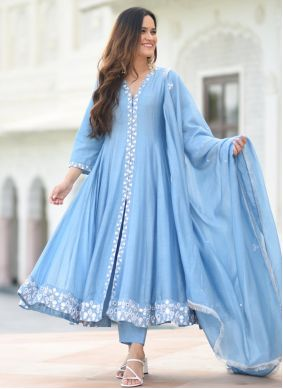 Blue Embroidered Layered Gown