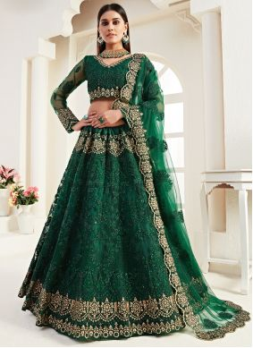 Embroidered Green Lehenga Choli