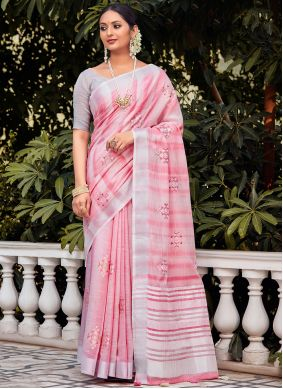Embroidered Linen Traditional Saree