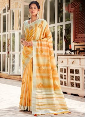 Embroidered Linen Yellow Traditional Saree