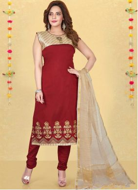 Embroidered Maroon Fancy Fabric Readymade Suit