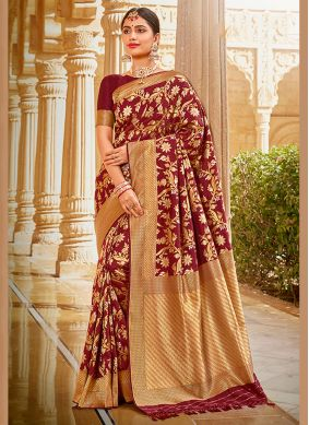 Embroidered Maroon Traditional Saree
