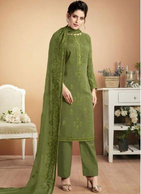 Embroidered Muslin Designer Palazzo Salwar Suit in Green