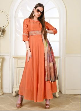 Embroidered Muslin Trendy Gown