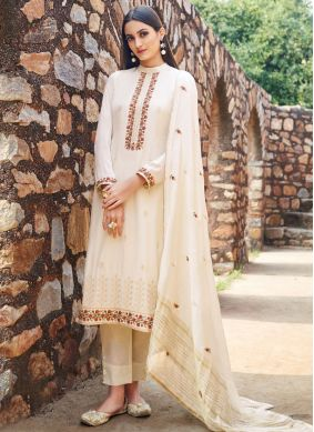 Embroidered Muslin Trendy Salwar Suit in Off White