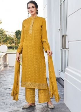Embroidered Mustard Bollywood Salwar Kameez