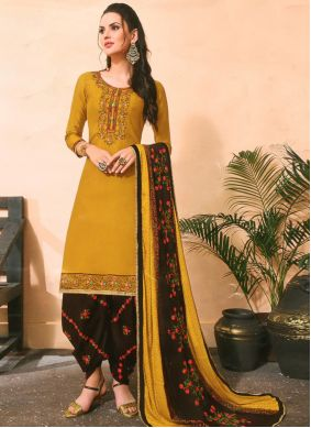 Embroidered Mustard Cotton Silk Pakistani Salwar Kameez