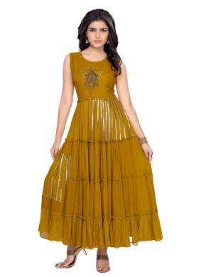 Embroidered Mustard Party Wear Kurti
