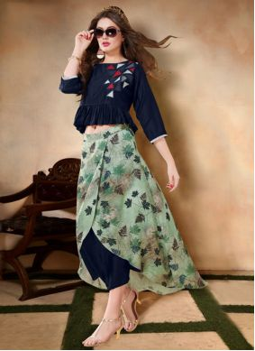 Embroidered Navy Blue Casual Kurti