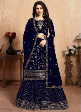 Embroidered Navy Blue Faux Georgette Salwar Suit