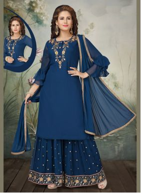 Embroidered Navy Blue Georgette Trendy Salwar Suit