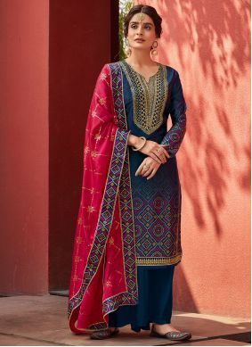 Embroidered Navy Blue Satin Designer Palazzo Suit