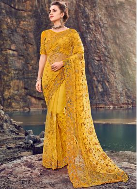 Embroidered Net Classic Designer Saree in Yellow