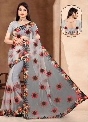 Embroidered Net Classic Saree in Grey