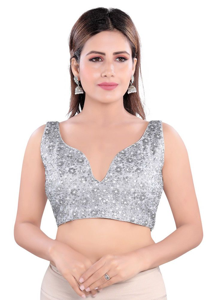 Embroidered Net Designer Blouse in Silver