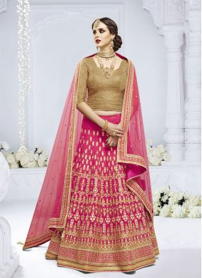 Embroidered Net Designer Lehenga Choli in Pink