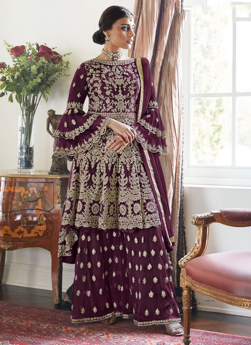 Embroidered Net Designer Palazzo Suit in Purple