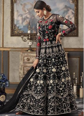 Embroidered Net Floor Length Anarkali Suit in Black
