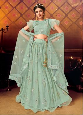 Embroidered Net Green A Line Lehenga Choli