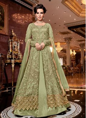 Embroidered Net Green Designer Lehenga Choli